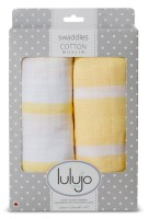 Muslin Baby Swaddle Mulltuch 2er Set (modern me collection) - Yellow Stripes