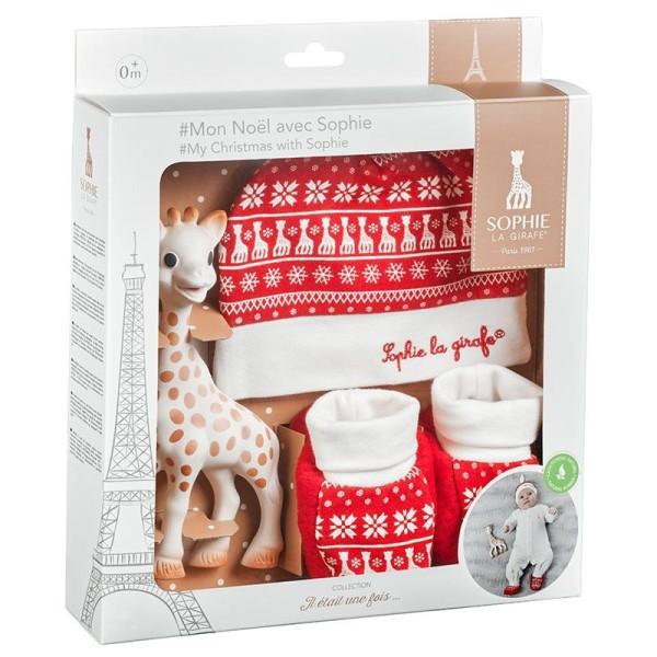 """Sophie la girafe® - Geschenkset """"Mein Weihnachten mit Sophie la girafe®"""" mit 1 Sophie la girafe®, 1 Mützchen, 1 Paar Söckchen"""