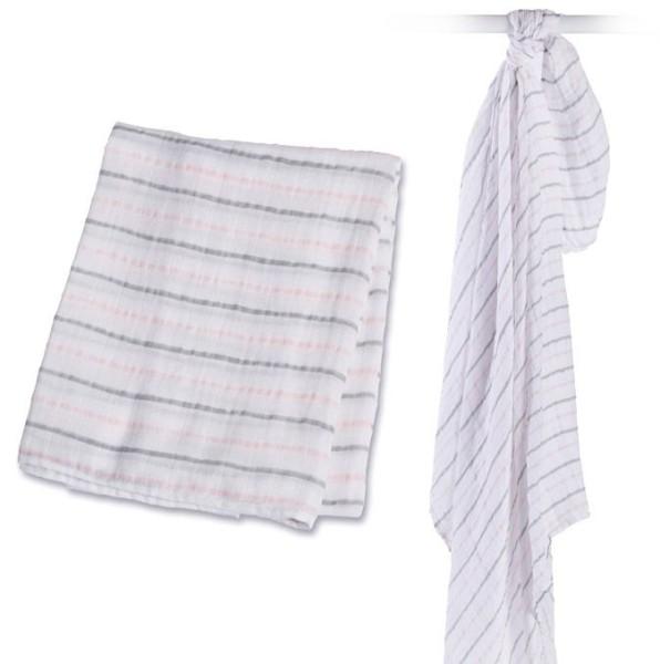 Muslin Swaddle Mulltuch - Pink Messy Stripe
