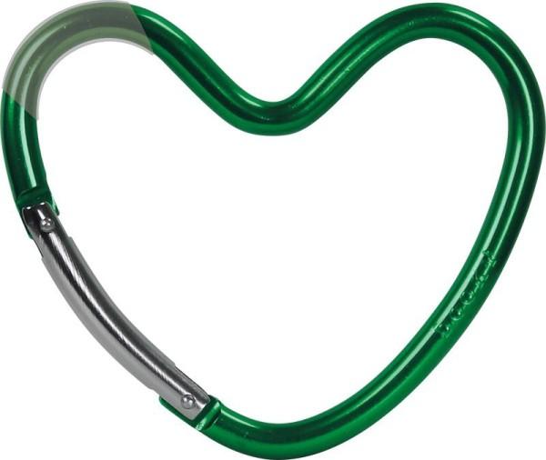 Dooky Heart Hook - Kinderwagenhaken für Taschen / herzförmig / Grün / glänzend