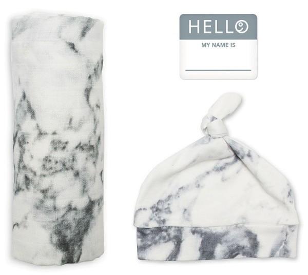 Set aus Mützchen, Muslin swaddle Mulltuch, Fotosticker - Marble