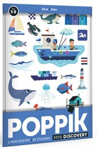 Poppik Stickerposter - Mini Discovery (1 Poster A4 + 26 Sticker) / Blau (3-8 J.)