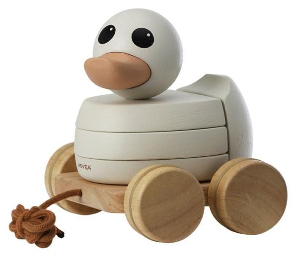 Hevea Ente Kawan - Nachziehtier und Stapelspielzeug aus Holz (Rubberwood)