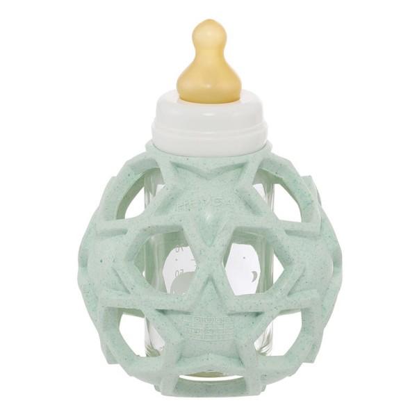 HEVEA Babyfläschchen aus Glas (120 ml) + Trinksauger + Starball - Naturkautschuk / upcycled / Mint