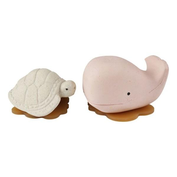 HEVEA - Badespielzeug Set Wal + Schildkröte - Naturkautschuk / upcycled / Champagne Pink + Vanilla