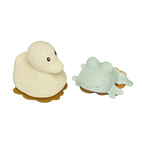 HEVEA - Badespielzeug Set Ente + Frosch - Naturkautschuk / upcycled / Sand + Sage