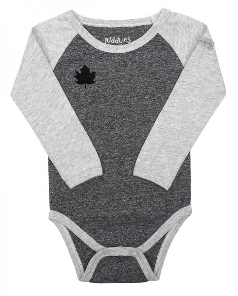 Juddlies Raglan Collection - Body Baumwolle (Bio) / Graphite Black (S/3-6 M/5-7,2 kg)