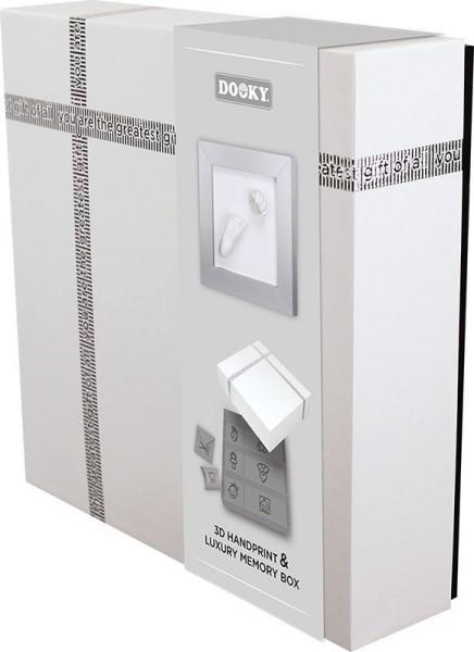 Dooky Hand & Fußabdruckset mit Memory-Geschenkbox / 3D Deluxe (Silberner Rahmen)