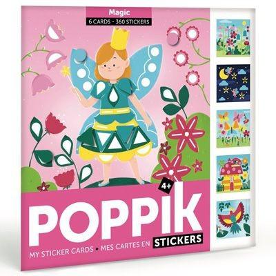 Poppik - Meine Stickerkarten (6 Karten + 360 Sticker) / Magie (4-7 J.)