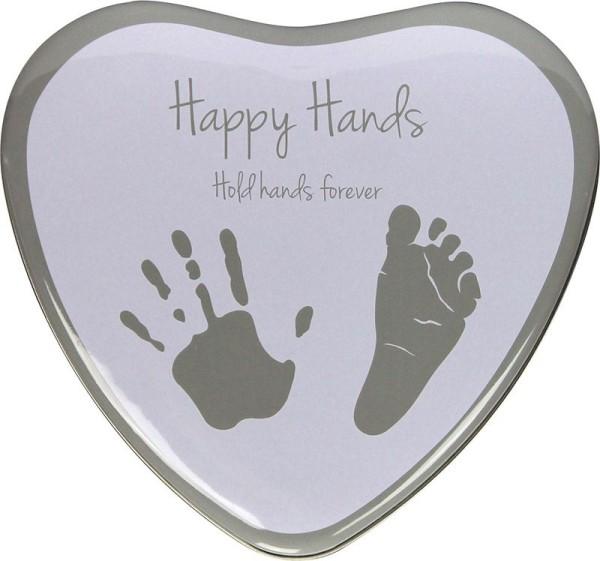 Happy Hands - Hand & Fußabdruckset / Herzform Silber