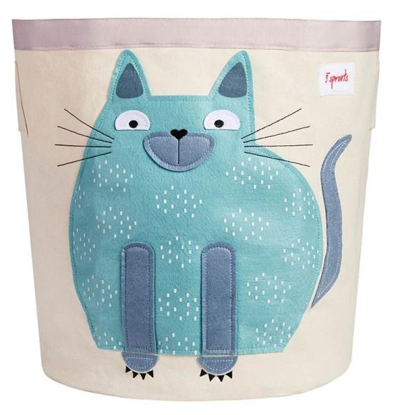 3 Sprouts - Aufbewahrungskorb für Kinderzimmer / faltbar / Katze