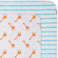 Baby''s  Flanell blanket/Babydecke 2er Set - Giraffe/Aqua
