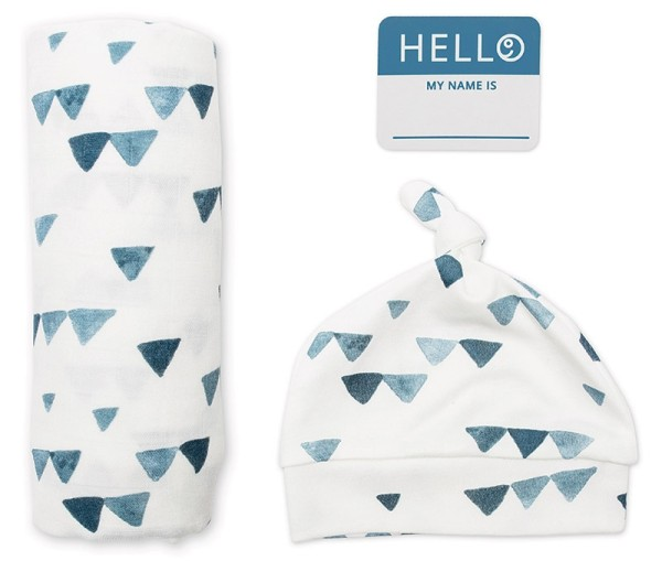 Set aus Mützchen, Muslin swaddle Mulltuch, Fotosticker - Triangle Blue