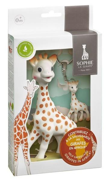 """Sophie la girafe® Sonderedition """"Schützt die Giraffen"""" inkl. Schlüsselanhänger / Naturkautschuk"""