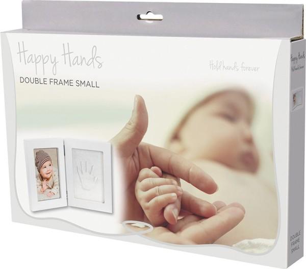 Happy Hands - Hand & Fußabdruckset / weißer Doppelrahmen klein