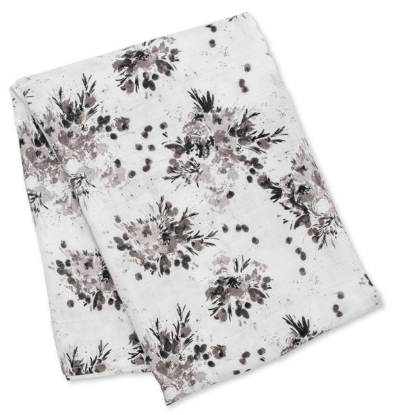 Bamboo Swaddle Mulltuch (modern collection) - Black Floral