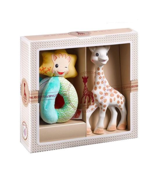 Sophie la girafe® Sophiesticated - Willkommensgruß - Set Nr. 2 (klein) / 1 Sophie la girafe® + 1 Stoffrassel mit Kügelchen