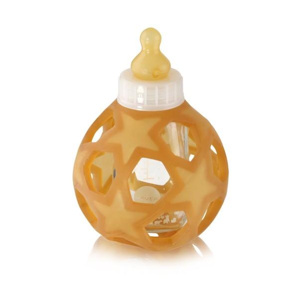 HEVEA Babyfläschchen aus Glas / Weiß (120 ml) + Trinksauger + Starball - Naturkautschuk
