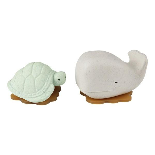 Hevea - Badespielzeug Set Wal + Schildkröte - Naturkautschuk / upcycled / Frosty White + Sage