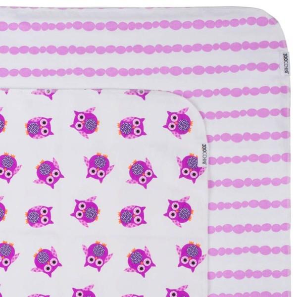 Baby''s  Flanell blanket/Babydecke 2er Set - Owl/Purple