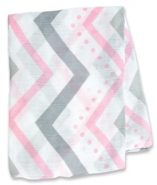 Bamboo Swaddle Mulltuch - Pink Chevron