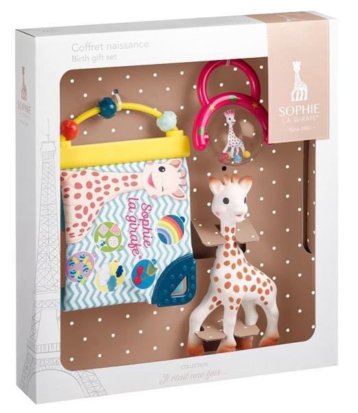 Geschenkset zur Geburt Sophie la girafe® (1 Sophie la girafe® + 1 Entdeckerbuch + 1 Kugelrassel)