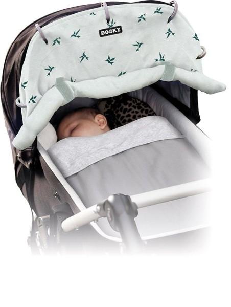 Dooky Universal Cover Design - Sonnenschutz für Kinderwagen / UPF 50+ / Jade Origami-Schwalben