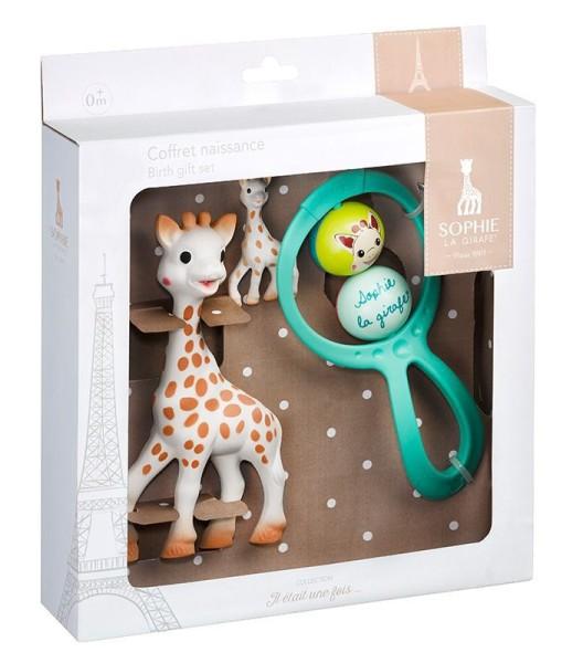 Sophie la girafe® - Geschenkset zur Geburt mit 1 Sophie la girafe®, 1 Rassel Swing, 1 Schlüsselanhänger
