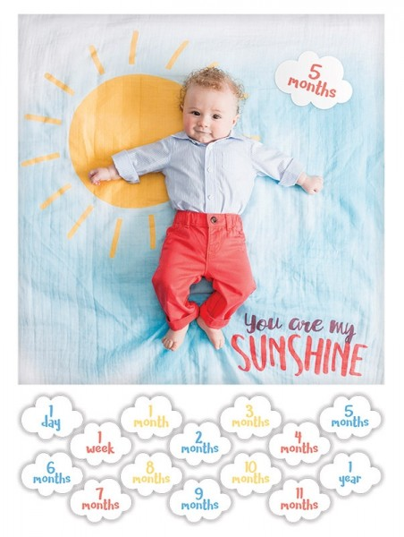 Baby''s First Year™ Swaddle-Blanket & Karten Set - You are my sunshine