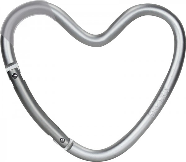 Dooky Heart Hook - Kinderwagenhaken für Taschen / herzförmig / Silber / matt