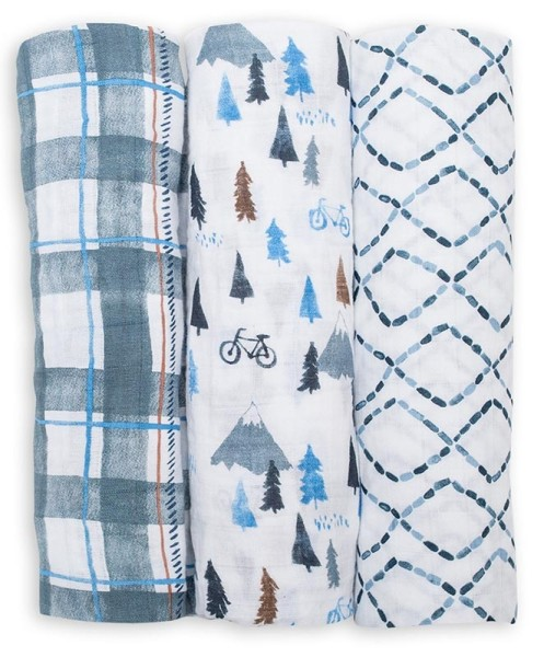 Muslin Baby Swaddle Mulltuch 3er Set - Navy Mountain