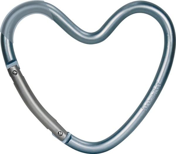 Dooky Heart Hook - Kinderwagenhaken für Taschen / herzförmig / Blau / matt