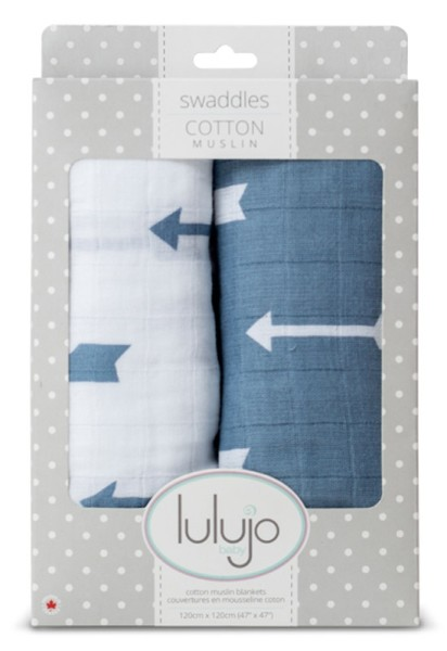 Muslin Baby Swaddle Mulltuch 2er Set (modern me collection) - Blue Arrows
