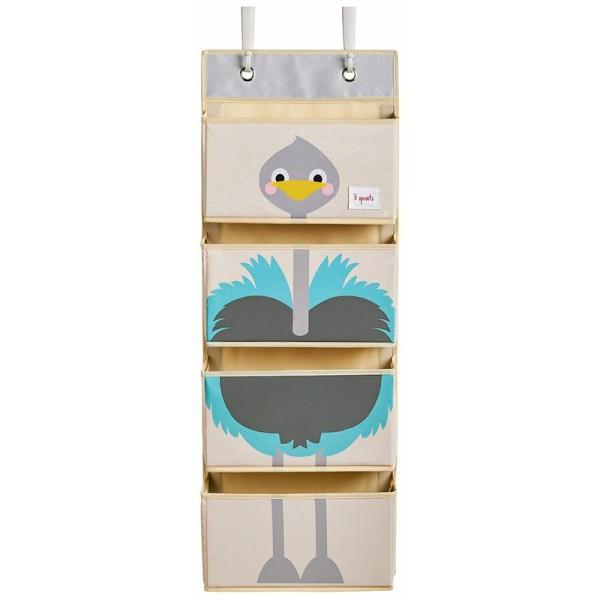 3 Sprouts - Hängeorganizer für Kinderzimmer / Vogel Strauß