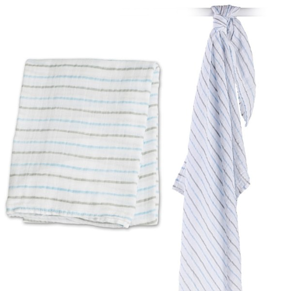 Muslin Swaddle Mulltuch - Blue Messy Stripe