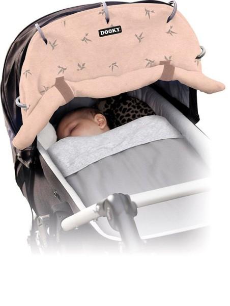 Dooky Universal Cover Design - Sonnenschutz für Kinderwagen / UPF 50+ / Pink Origami-Schwalben