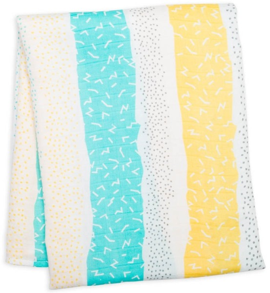 Bamboo Swaddle Mulltuch - Aqua Spotted Lines