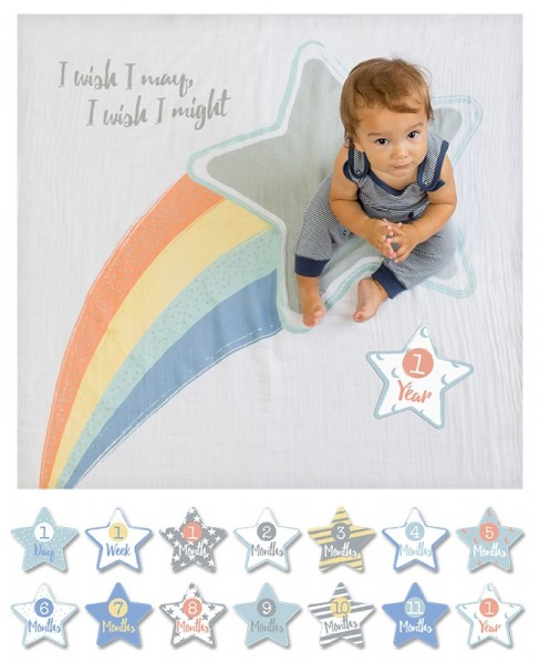 Baby''s First Year™ Swaddle-Blanket & Karten Set - I Wish I May, I Will
