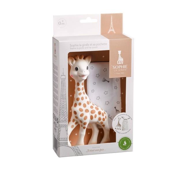 Sophie la girafe® + Stoffbeutelchen (Geschenkkarton weiß) / Naturkautschuk + Baumwolle