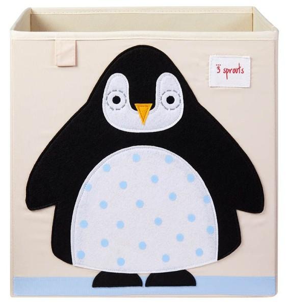3 Sprouts - Aufbewahrungsbox für Kinderzimmer / faltbar / Pinguin