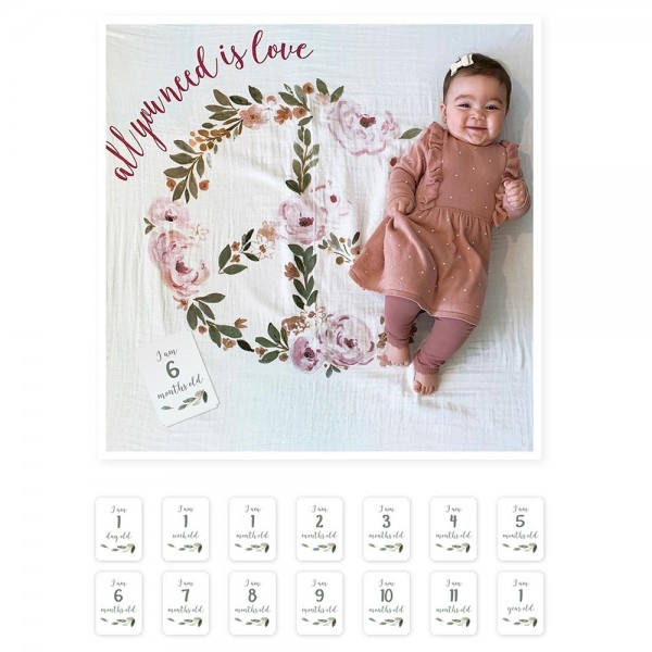 Baby''s First Year™ Swaddle-Blanket & Karten Set - All You need Is Love