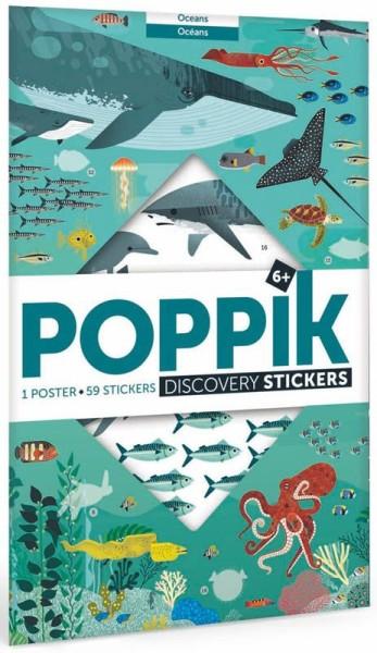 Poppik Stickerposter - Discovery (1 Poster + 59 Sticker) / Ozeane (6-12 J.)