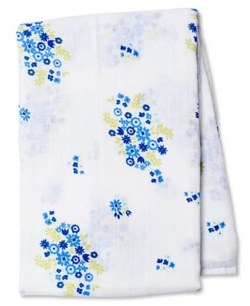 Muslin Swaddle Mulltuch - Vintage Blue Bouquet