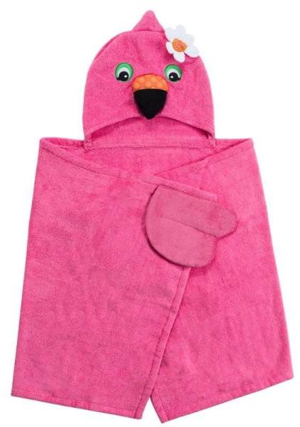 Kinder Kapuzenbadetuch - Franny der Flamingo