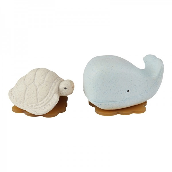 HEVEA - Badespielzeug Set Wal + Schildkröte - Naturkautschuk / upcycled / Blizzard Blue + Vanilla