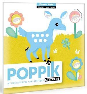 Poppik Stickerkarten - Meine ersten Sticker (6 Karten + 96 Sticker) / Waldtiere (2-4 J.)