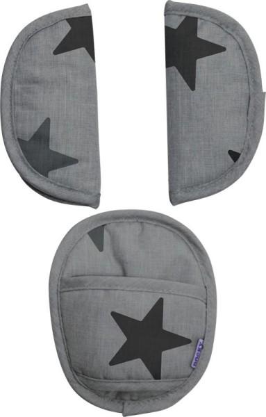 Dooky Universal Pads - Universal-Gurtpolster für die Babyschale / Graue Sterne