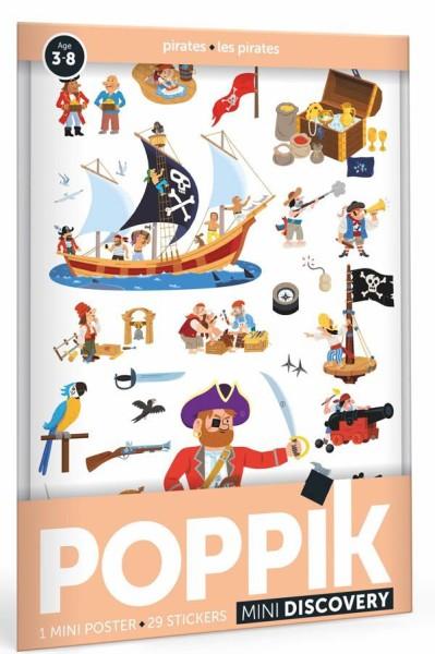 Poppik Stickerposter - Mini Discovery (1 Poster A4 + 30 Sticker) / Piraten (3-8 J.)