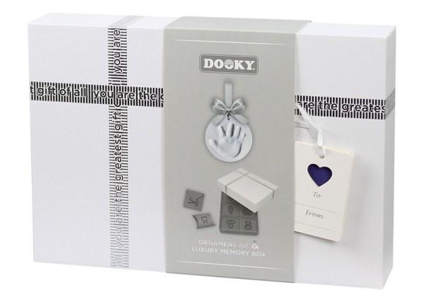 Dooky Handabdruckset mit Memory-Geschenkbox / Ornament Kit/silbernes Schleifenband