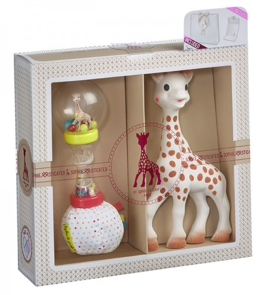 Sophie la girafe® Sophiesticated - Willkommensgruß - Set Nr. 4 (klein) / 1 Sophie la girafe® + 1 Soft Maracas-Rassel